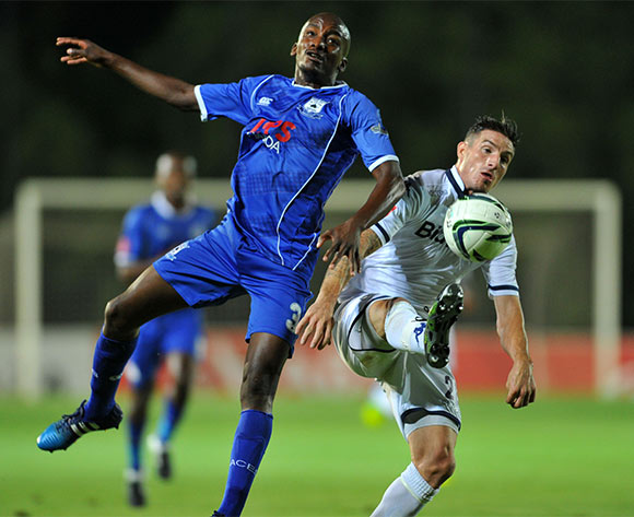 James Keene of Bidvest Wits challenged by Lehlohonolo Nonyane of Black Aces during the Absa Premiership match between Bidvest Wits and Black Aces at the Bidvest Stadium in Johannesburg, South Africa on January 15, 2016 ©Samuel Shivambu/BackpagePix