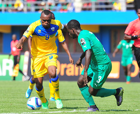 Jacques Tuyisenge of Rwanda challenged by Marcellin Koffi of Ivory Coast during the 2016 CHAN football match between Rwanda and Ivory Coast  at the Amahoro Stadium in Kigali, Rwanda on 16 January 2016 ©Muzi Ntombela/BackpagePix