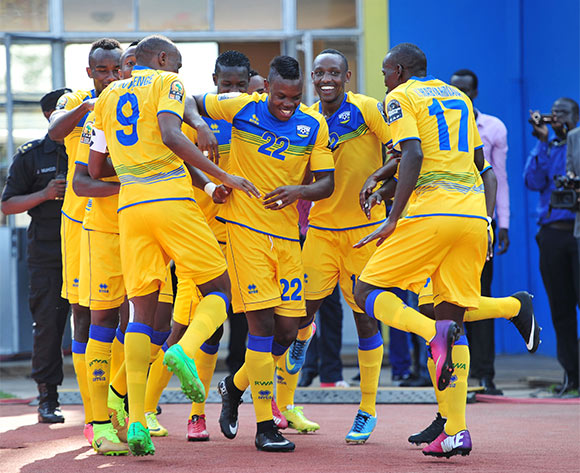 Emery Bayisenge of Rwanda celebrates his goal with teammates during the 2016 CHAN football match between Rwanda and Ivory Coast  at the Amahoro Stadium in Kigali, Rwanda on 16 January 2016 ©Muzi Ntombela/BackpagePix