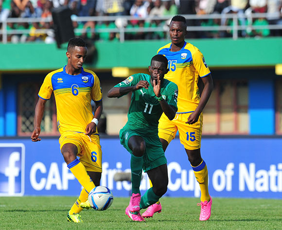 Yannick Mukunzi of Rwanda challenged by Davy Koffi Boua of Ivory Coast during the 2016 CHAN football match between Rwanda and Ivory Coast  at the Amahoro Stadium in Kigali, Rwanda on 16 January 2016 ©Muzi Ntombela/BackpagePix