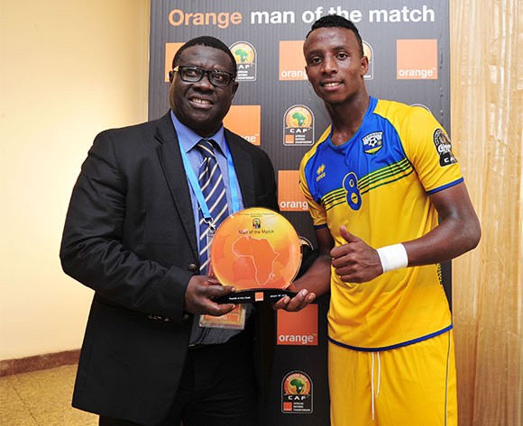 Man of the match Emery Bayisenge of Rwanda during the 2016 CHAN football match between Rwanda and Ivory Coast  at the Amahoro Stadium in Kigali, Rwanda on 16 January 2016 ©Muzi Ntombela/BackpagePix