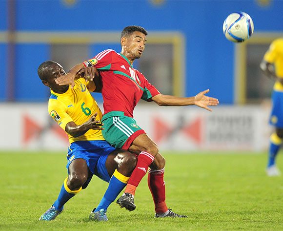 Abdessamad El Mobaraky of Morocco battles with Djesnot Tchen Kabi of Gabon during the 2016 CHAN football match between Gabon and Morocco  at the Amahoro Stadium in Kigali, Rwanda on 16 January 2016 ©Muzi Ntombela/BackpagePix
