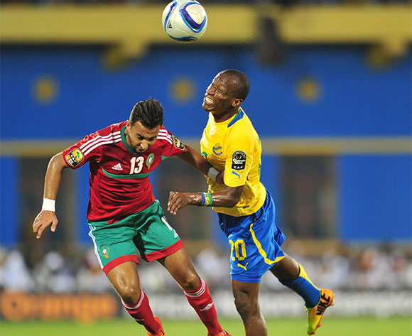 Lionel Yackouya of Gabon battles with Anass Lamrabat of Morocco during the 2016 CHAN football match between Gabon and Morocco  at the Amahoro Stadium in Kigali, Rwanda on 16 January 2016 ©Muzi Ntombela/BackpagePix