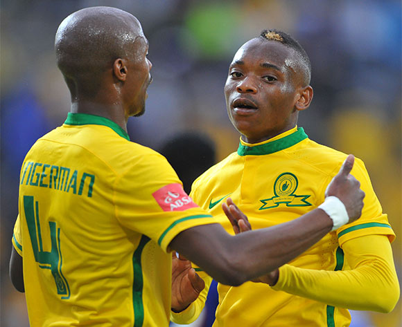 Khama Billiat celebrates his goal with Tebogo Langerman of Mamelodi Sundowns during the Absa Premiership match between Mamelodi Sundowns and University of Pretoria at the Bidvest Stadium in Johannesburg, South Africa on January 16, 2016 ©Samuel Shivambu/BackpagePix