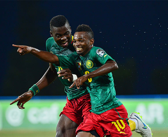 Emane Yazid Atouba of Cameroon celebrates goal as teammate Frank Thierry Boya joins in during the 2016 CHAN football match between Angola and Cameroon at the Huye Stadium in Butare, Rwanda on 17 January 2016 ©Gavin Barker/BackpagePix