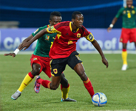 Moco of Angola controls ball from Alexandre Kombi of Cameroon  during the 2016 CHAN football match between Angola and Cameroon at the Huye Stadium in Butare, Rwanda on 17 January 2016 ©Gavin Barker/BackpagePix