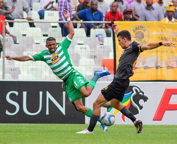 Lorenzo Gordinho of Kaizer Chiefs and Wayde Jooste of Bloemfontein Celtic during the Absa Premiership match between Bloemfontein Celtic and Kaizer Chiefs on 17 January 2016 at Free State Stadium, Bloemfontein ©Frikkie Kapp /BackpagePix