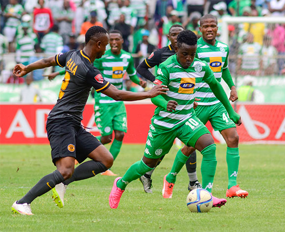 Gabadinho Mhango of Bloemfontein Celtic and Siboniso Gaxa of Kaizer Chiefs during the Absa Premiership match between Bloemfontein Celtic and Kaizer Chiefs on 17 January 2016 at Free State Stadium, Bloemfontein ©Frikkie Kapp /BackpagePix
