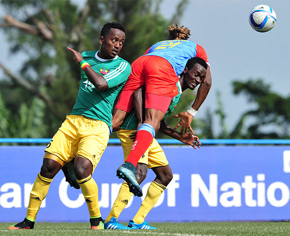 Asechalew Tamene of Ethiopia battles with Jonathan Bolingi of DR Congo during the 2016 CHAN Rwanda, match between DR Congo and Ethiopia at the Huye Stadium in Butare, Rwanda on 17 January 2016 ©Muzi Ntombela/BackpagePix