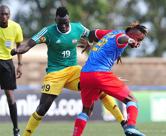 Tafesse Shewamene of Ethiopia battles with Jonathan Bolingi of DR Congo during the 2016 CHAN Rwanda, match between DR Congo and Ethiopia at the Huye Stadium in Butare, Rwanda on 17 January 2016 ©Muzi Ntombela/BackpagePix