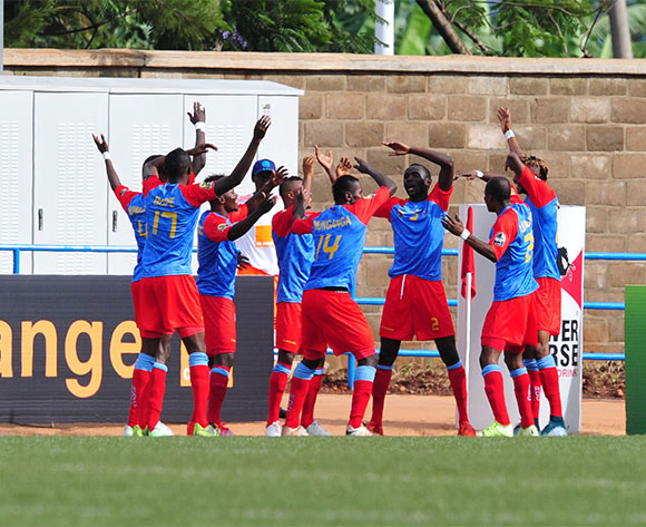 Luvumbu Nzinga of DR Congo celebrates his goal with teammates against Ethiopia