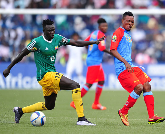 Ricky Tulenge of DR Congo challenged by Tafesse Shewamene of Ethiopia during the 2016 CHAN Rwanda, match between DR Congo and Ethiopia at the Huye Stadium in Butare, Rwanda on 17 January 2016 ©Muzi Ntombela/BackpagePix