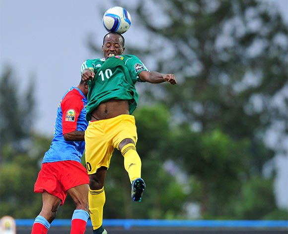 Ramkel Lok of Ethiopia challenged by Lomalisa Mutambala of DR Congo during the 2016 CHAN Rwanda, match between DR Congo and Ethiopia at the Huye Stadium in Butare, Rwanda on 17 January 2016 ©Muzi Ntombela/BackpagePix
