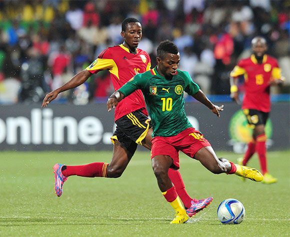 Emane Yazid Atouba of Cameroon challenged by Moco of Angola during the 2016 CHAN Rwanda, match between Angola v Cameroon at the Huye Stadium in Butare, Rwanda on 17 January 2016 ©Muzi Ntombela/BackpagePix