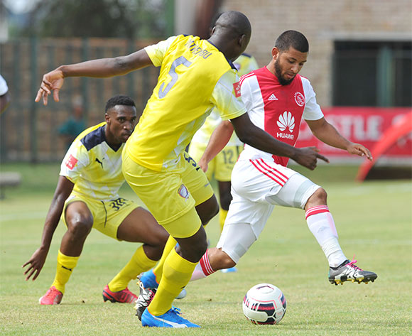Riyaad Noroden  of Ajax Cape Town challenged by Ndabenhle Mthembu of Jomo Cosmos during the Absa Premiership match between Jomo Cosmos and Ajax Cape Town at the Olen Park in Johannesburg, South Africa on January 17, 2016 ©Samuel Shivambu/BackpagePix