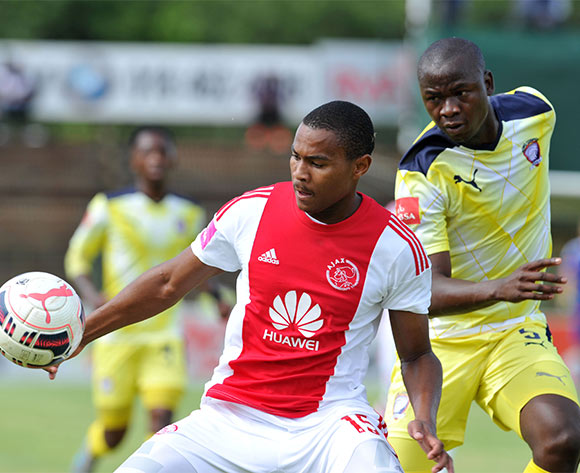 Prince Nxumalo of Ajax Cape Town challenged by Ndabenhle Mthembu of Jomo Cosmos during the Absa Premiership match between Jomo Cosmos and Ajax Cape Town at the Olen Park in Johannesburg, South Africa on January 17, 2016 ©Samuel Shivambu/BackpagePix