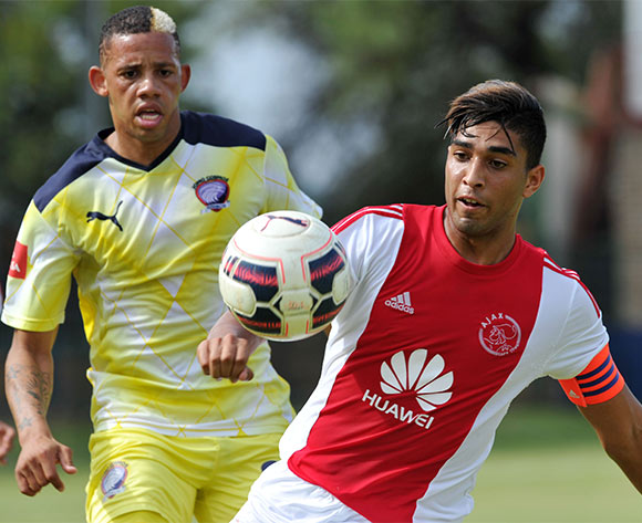 Travis Graham of Ajax Cape Town challenged by Cheslyn Jampies of Jomo Cosmos during the Absa Premiership match between Jomo Cosmos and Ajax Cape Town at the Olen Park in Johannesburg, South Africa on January 17, 2016 ©Samuel Shivambu/BackpagePix