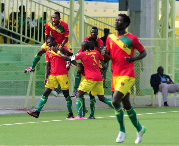 Alseny Camara of Guinea (15) celebrates his goal with teammates during the 2016 CHAN Rwanda, match between Tunisia and Guinea at the Stade de Kigali in Kigali, Rwanda on 18 January 2016 ©Muzi Ntombela/BackpagePix
