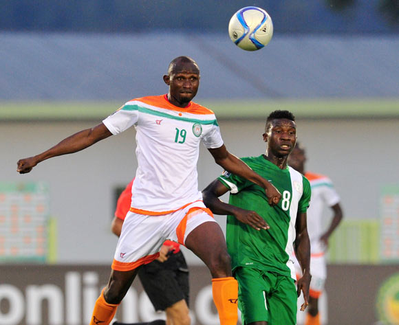 Koudizé Issiakou of Niger battles with Matthew Ifeanyi of Nigeria  during the 2016 CHAN Rwanda, match between Nigeria and Niger at the Stade de Kigali in Kigali, Rwanda on 18 January 2016 ©Muzi Ntombela/BackpagePix