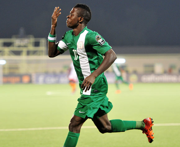 Osas Okoro of Nigeria celebrates his goal during the 2016 CHAN Rwanda, match between Nigeria and Niger at the Stade de Kigali in Kigali, Rwanda on 18 January 2016 ©Muzi Ntombela/BackpagePix