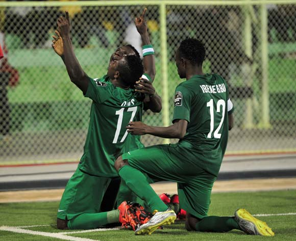 Home-based Eagles celebrate a goal at CHAN 2016 in Rwanda