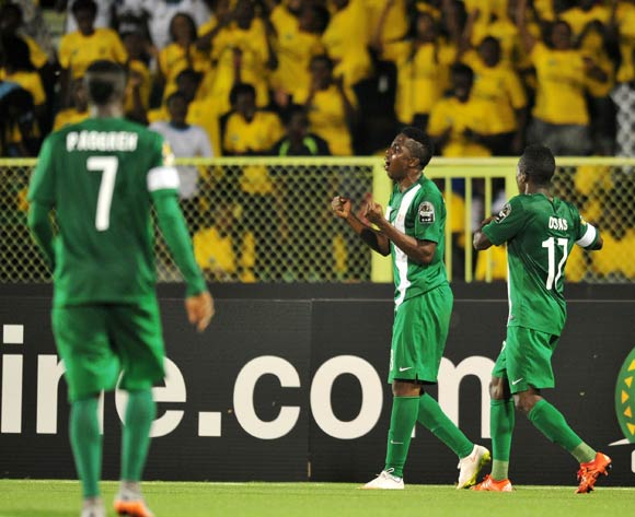 Chisom Chikatara of Nigeria celebrates his goal during the 2016 CHAN