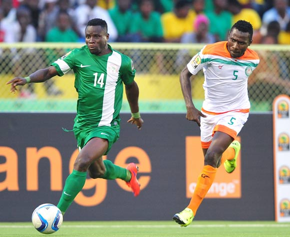 Matthew Etim of Nigeria get past Musa Shehu of Niger during the 2016 CHAN Rwanda game between Nigeria and Niger at Stade de Kigali Stadium, Kigali on 18 January 2016 ©Ryan Wilkisky/BackpagePix