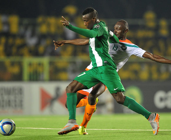 Prince Aggreh of Nigeria takes on Koudizé Issiakou of Niger during the 2016 CHAN Rwanda game between Nigeria and Niger at Stade de Kigali Stadium, Kigali on 18 January 2016 ©Ryan Wilkisky/BackpagePix