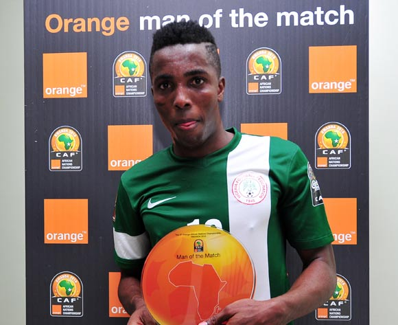 Chisom Chikatara of Nigeria receives his 'Orange Man of the Match' award after the 2016 CHAN Rwanda game between Nigeria and Niger at Stade de Kigali Stadium, Kigali on 18 January 2016 ©Ryan Wilkisky/BackpagePix