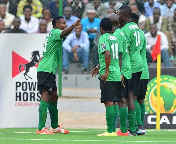 Christopher Katongo of Zambia (l) salutes teammates in celebration after Isaac Chansa (far right) scores during the 2016 CHAN football match between Zimbabwe and Zambia at the Rubavu Stadium in Rubavu, Rwanda on 19 January 2016 ©Gavin Barker/BackpagePix