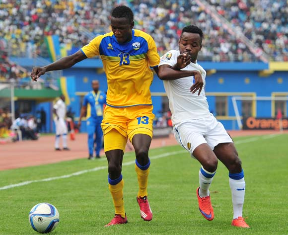 Fitina Omborenga of Rwanda challenged by Cedric Ondo Biyoghe of Gabon  during the 2016 CHAN Rwanda, match between Rwanda and Gabon at the Amahoro Stadium in Kigali, Rwanda on 20 January 2016 ©Muzi Ntombela/BackpagePix