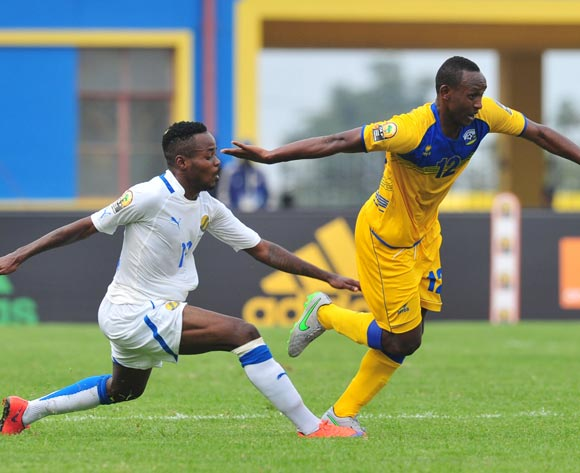 Jean Claude Iranzi of Rwanda tackled by Cedric Ondo Biyoghe of Gabon  during the 2016 CHAN Rwanda, match between Rwanda and Gabon at the Amahoro Stadium in Kigali, Rwanda on 20 January 2016 ©Muzi Ntombela/BackpagePix