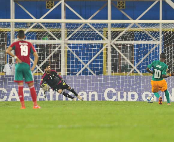 Krahire Yannick Zakri of Ivory Coast scores a penalty during the 2016 CHAN Rwanda, match between Morocco and Ivory Coast at the Amahoro Stadium in Kigali, Rwanda on 20 January 2016 ©Muzi Ntombela/BackpagePix
