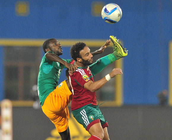 Issam Erraki  of Morocco battles with Mahan Marc Goua of Ivory Coast  during the 2016 CHAN Rwanda, match between Morocco and Ivory Coast at the Amahoro Stadium in Kigali, Rwanda on 20 January 2016 ©Muzi Ntombela/BackpagePix
