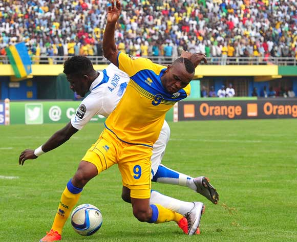 Jacques Tuyisenge of Rwanda is fouled by Allen Nono of Gabon during the 2016 CHAN football match between Rwanda and Gabon at the Amahora Stadium in Kigali, Rwanda on 20 January 2016 ©Ryan Wilkisky/BackpagePix