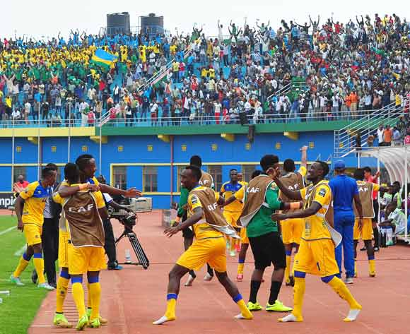 The Rwanda bench celebrate a goal scored by Ernest Sugira of Rwanda during the 2016 CHAN football match between Rwanda and Gabon at the Amahora Stadium in Kigali, Rwanda on 20 January 2016 ©Ryan Wilkisky/BackpagePix