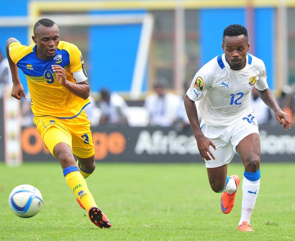 Cedric Ondo Biyoghe of Gabon takes on Jacques Tuyisenge of Rwanda during the 2016 CHAN football match between Rwanda and Gabon at the Amahora Stadium in Kigali, Rwanda on 20 January 2016 ©Ryan Wilkisky/BackpagePix