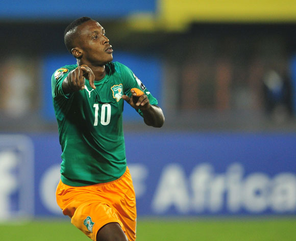 Krahire Yannick Zakri of Ivory Coast turns to celebrate after giving his team the lead from the penalty spot during the 2016 CHAN football match between Morocco and Ivory Coast at the Amahora Stadium in Kigali, Rwanda on 20 January 2016 ©Ryan Wilkisky/BackpagePix
