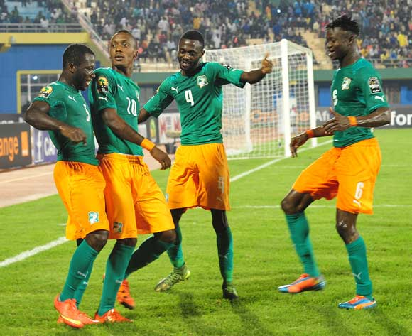 Ivory Coast players celebrate with goalscorer Krahire Yannick Zakri (10) during the 2016 CHAN football match between Morocco and Ivory Coast at the Amahora Stadium in Kigali, Rwanda on 20 January 2016 ©Ryan Wilkisky/BackpagePix