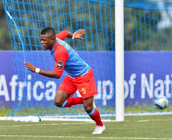 Meschack Elia of DR Congo celebrates goal   during the 2016 CHAN football match between DR Congo and Angola at the Huye Stadium in Butare, Rwanda on 21 January 2016 ©Gavin Barker/BackpagePix