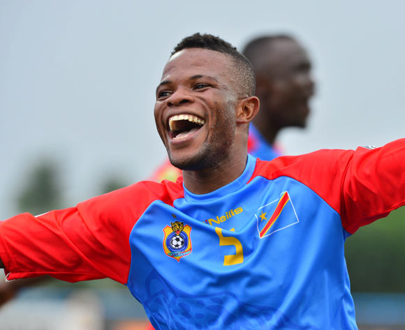 Meschack Elia of DR Congo celebrates win  during the 2016 CHAN football match between DR Congo and Angola at the Huye Stadium in Butare, Rwanda on 21 January 2016 ©Gavin Barker/BackpagePix