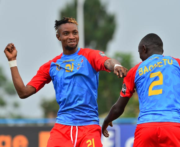 Jonathan Bolingi (l) and Junior Baometu of DR Congo celebrate win during the 2016 CHAN football match between DR Congo and Angola at the Huye Stadium in Butare, Rwanda on 21 January 2016 ©Gavin Barker/BackpagePix