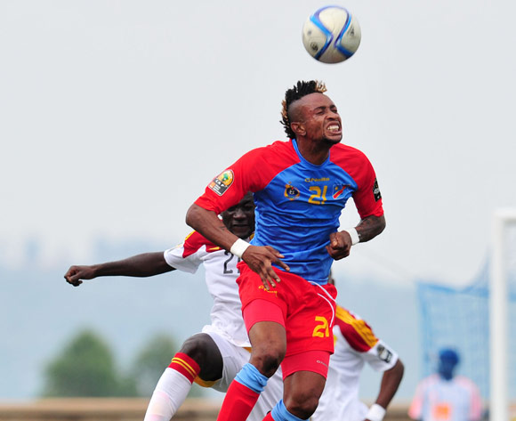 Jonathan Bolingi of DR Congo challenged by Isaac da Costa of Angola during the 2016 CHAN Rwanda, match between DR Congo and Angola at the Huye Stadium in Butare, Rwanda on 21 January 2016 ©Muzi Ntombela/BackpagePix