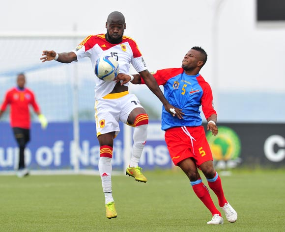 Miguel of Angola challenged by Meschak Elia of DR Congo during the 2016 CHAN Rwanda, match between DR Congo and Angola at the Huye Stadium in Butare, Rwanda on 21 January 2016 ©Muzi Ntombela/BackpagePix