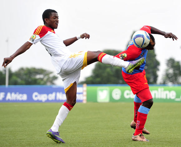 Nelson Munganga of DR Congo battles with Jacinto Gelson of Angola during the 2016 CHAN Rwanda, match between DR Congo and Angola at the Huye Stadium in Butare, Rwanda on 21 January 2016 ©Muzi Ntombela/BackpagePix