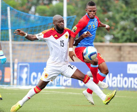 Meschak Elia of DR Congo challenged by Miguel of Angola during the 2016 CHAN Rwanda