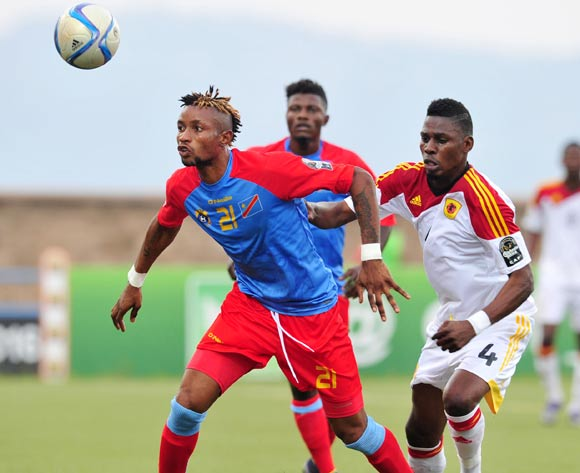 Jonathan Bolingi of DR Congo battles with Fabricio of Angola during the 2016 CHAN Rwanda, match between DR Congo and Angola at the Huye Stadium in Butare, Rwanda on 21 January 2016 ©Muzi Ntombela/BackpagePix