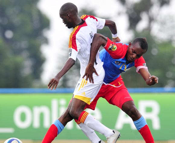 Petro Bua of Angola battles with Merveille Bope of DR Congo during the 2016 CHAN Rwanda, match between DR Congo and Angola at the Huye Stadium in Butare, Rwanda on 21 January 2016 ©Muzi Ntombela/BackpagePix