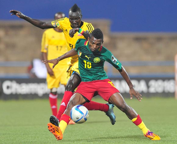 Emane Yazid Atouba of Cameroon battles with Eliyas Mamo of Ethiopia during the 2016 CHAN Rwanda, match between Cameroon and Ethiopia at the Huye Stadium in Butare, Rwanda on 21 January 2016 ©Muzi Ntombela/BackpagePix