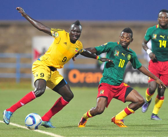 Eliyas Mamo of Ethiopia challenged by Emane Yazid Atouba of Cameroon during the 2016 CHAN Rwanda, match between Cameroon and Ethiopia at the Huye Stadium in Butare, Rwanda on 21 January 2016 ©Muzi Ntombela/BackpagePix